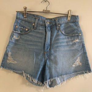 Nobody blue denim distressed shorts